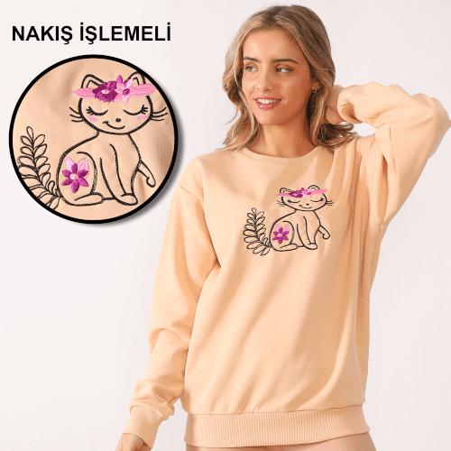 Tisho Kombin Ürünleri - Sevimli Kedi Nakış İşlemeli Krem Kadın Sweatshirt