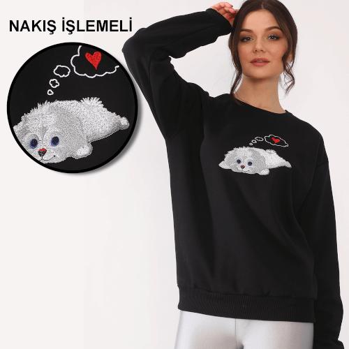 Tisho Kombin Ürünleri - Sevimli Köpek Desenli Nakış İşlemeli Siyah Kadın Sweatshirt