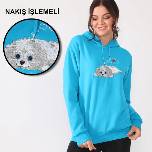 Tisho - Sevimli Köpek Desenli Nakış İşlemeli Turkuaz Kadın Kapüşonlu Sweatshirt