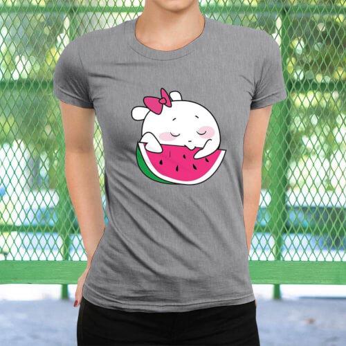 Sevimli Meyve Kadın Kısa Kol Tişört - Tekli Kombin - Thumbnail