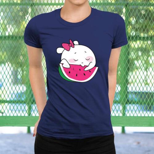 Sevimli Meyve Kadın Kısa Kol Tişört - Tekli Kombin