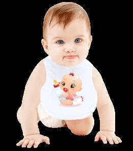 hediyeburada - Sevimli Minik Tasarımlı Bebek Mama Önlüğü