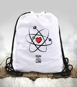 BilimNeGuzelLan - Siyah Logo Büzgülü spor çanta