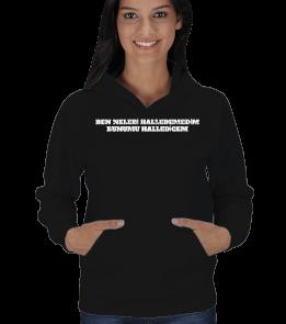 Moda tasarım - SİYAH YAZILI POLAR Kadın Kapşonlu