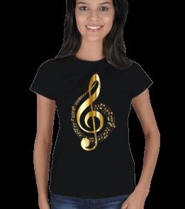 Saruhan - Sol Anahtarı ve notalı Kadın Tişört