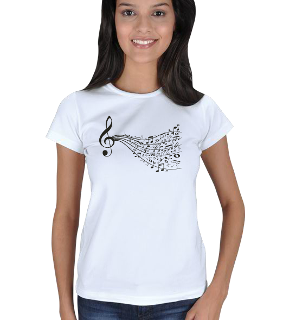 mathdesign - Sol Anahtarlı Müzik Tişörtü Kadın Tişört