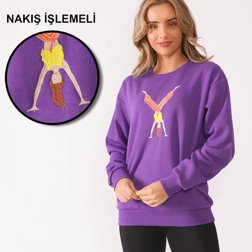 Tisho - Sporcu Kadın Nakış İşlemeli Mor Kadın Sweatshirt