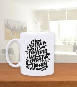 Tasarım Gurusu - Stop talking start doing baskılı Beyaz Kupa Bardak