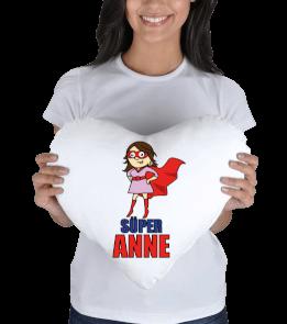 ALDIM GİTTİ - Süper Anne Baskılı Yastık Kalp Yastık