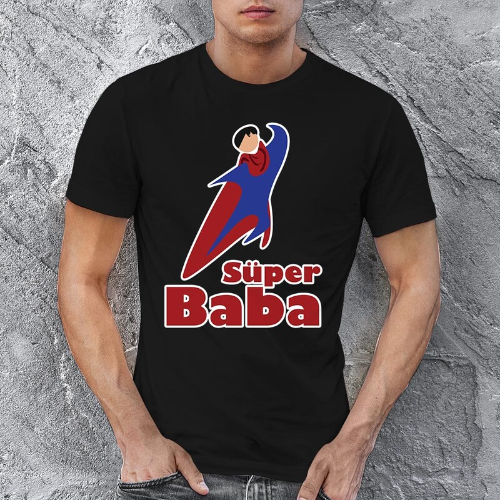 Süper Baba Erkek Kısa Kol Tişört - Tekli Kombin - Thumbnail