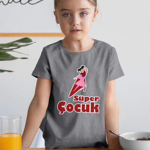 Süper Kız Çocuk Kısa Kol Tişört - Tekli Kombin