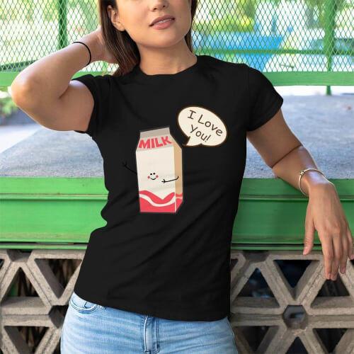Süt Baskılı Kadın Tişört - Tekli Kombin - Thumbnail