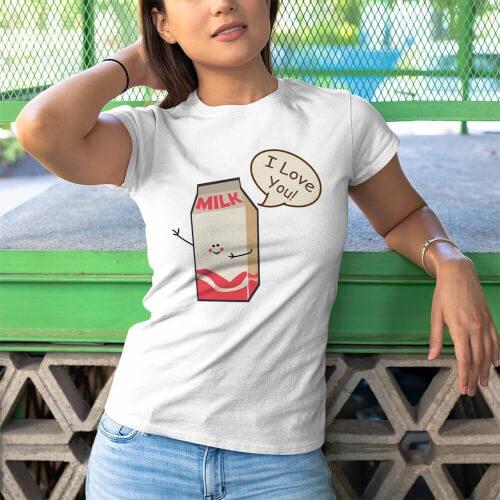 Süt Baskılı Kadın Tişört - Tekli Kombin