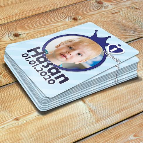 Taç Tasarımlı Erkek Bebek Doğum Günü Magneti - Thumbnail