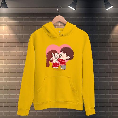 Tisho - Tatlı Sevgililer Kadın Kapüşonlu Sweatshirt