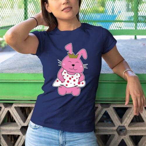 Tavşan Kadın Tişört - Tekli Kombin - Thumbnail