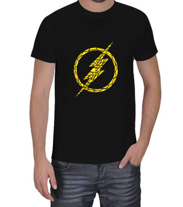 Geek-Shirt - The Flash Kırık Logo Siyah Erkek Tişört