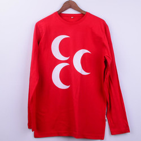 - Üç Hilal Baskılı Uzun Kollu Erkek Tişörtü - L Beden, Kırmızı