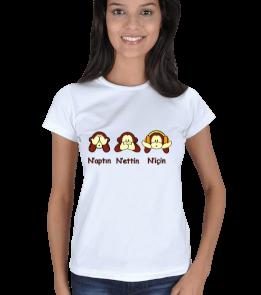 MY - Üç Maymun Tasarımlı Kadın Tişört