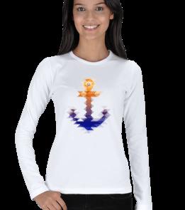 Sailing Store - Watercolor Çapa Kadın Uzun Kol