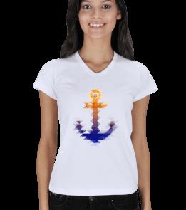 Sailing Store - Watercolor Çapa Kadın V Yaka