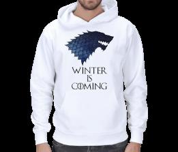 Crazy Shop - Winter is Coming .Wolf Beyaz Erkek Kapşonlu