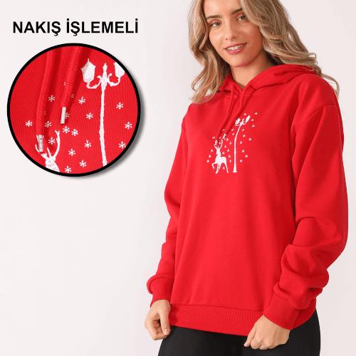 Tisho - Yeni Yıl Geyik Desenli Nakış İşlemeli Kırmızı Kadın Kapüşonlu Sweatshirt