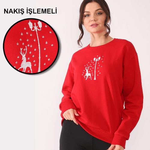 Tisho - Yeni Yıl Geyik Temalı Nakış İşlemeli Kırmızı Kadın Sweatshirt